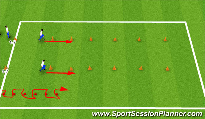 Football/Soccer Session Plan Drill (Colour): Stretch and Speed