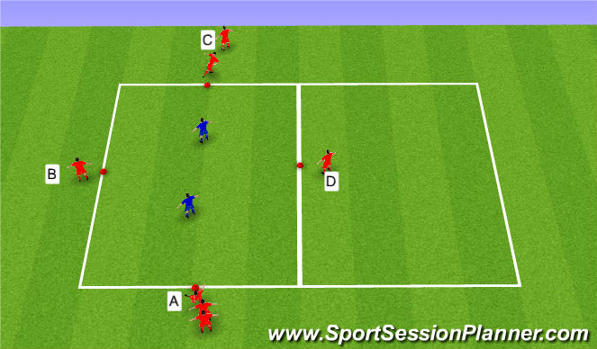Football/Soccer Session Plan Drill (Colour): Diamond Passing 4v2