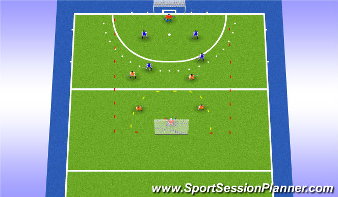 Hockey Session Plan Drill (Colour): Turnover game 4v4
