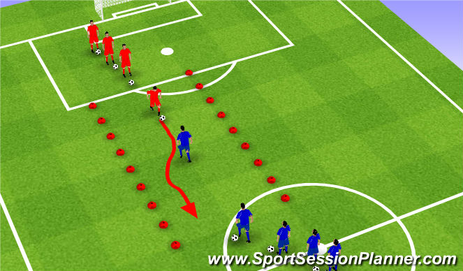Football/Soccer Session Plan Drill (Colour): Survival of the fittest