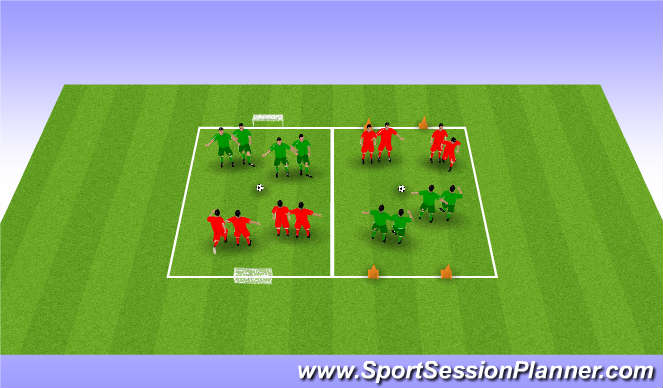 Football/Soccer Session Plan Drill (Colour): 親子手つなぎサッカー