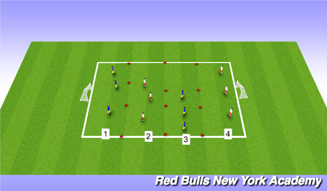 Football/Soccer Session Plan Drill (Colour): penetration dirbbling