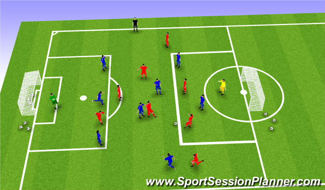 Football/Soccer Session Plan Drill (Colour): 9v9