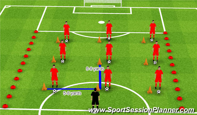 Football/Soccer Session Plan Drill (Colour): Warm Up Part 1