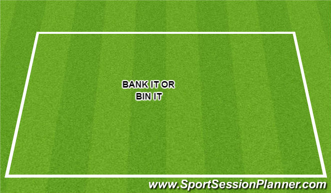 Football/Soccer Session Plan Drill (Colour): Bank it or bin it