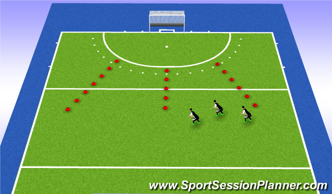 Hockey Session Plan Drill (Colour): Omschakeling + aanbieden