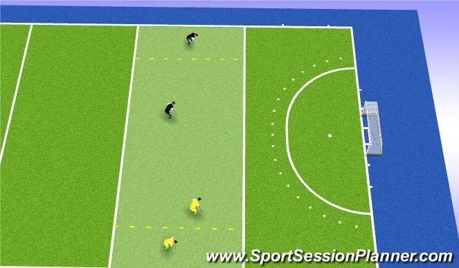 Hockey Session Plan Drill (Colour): Balbezit aanbieden en spelverplaatsing