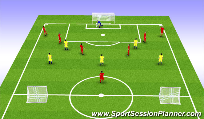 Football/Soccer Session Plan Drill (Colour): 8v5 Playing Out