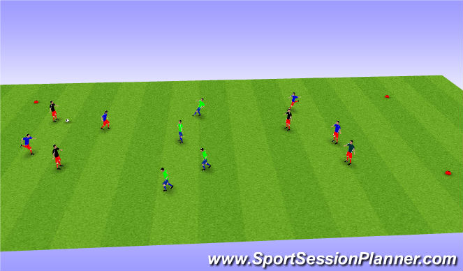 Football/Soccer Session Plan Drill (Colour): SSG BU 11 using neutral players
