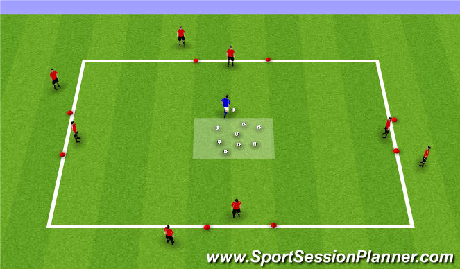 Football/Soccer Session Plan Drill (Colour): Spring/Summer 1v1 Continuous