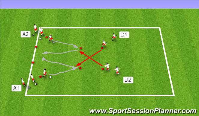 Football/Soccer Session Plan Drill (Colour): 1v1 with pressure from behind