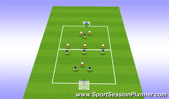 Football/Soccer Session Plan Drill (Colour): 7-a-Side Mannequin