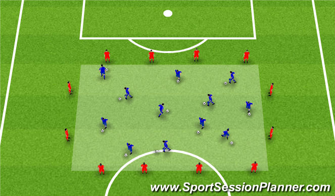 Football/Soccer Session Plan Drill (Colour): Dribble Box