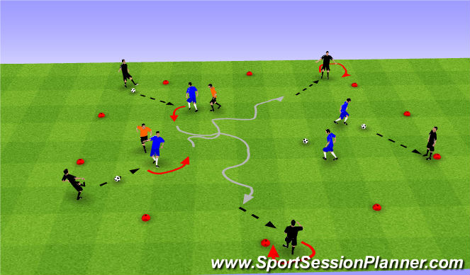 Football/Soccer Session Plan Drill (Colour): Skill Intro - Progression