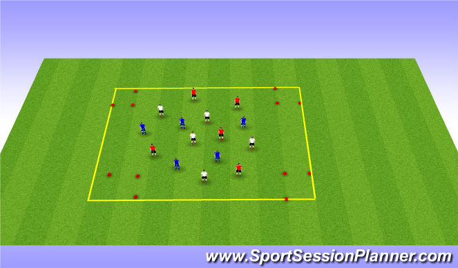 Football/Soccer Session Plan Drill (Colour): 3 team possesion