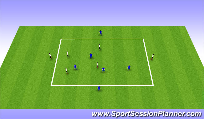 Football/Soccer Session Plan Drill (Colour): 4v4+2 target players