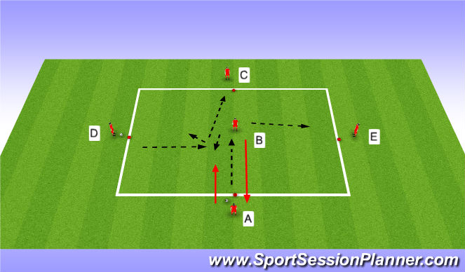 Football/Soccer Session Plan Drill (Colour): Passing / moving warm up