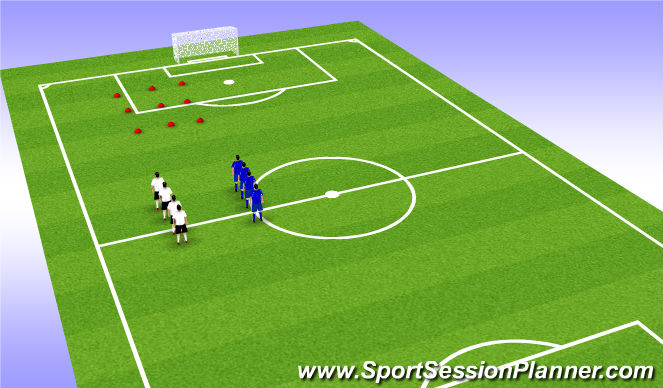 Football/Soccer Session Plan Drill (Colour): warm up and tic tac toe