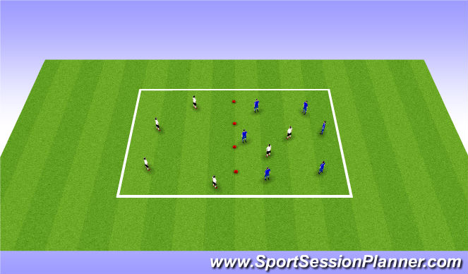 Football/Soccer Session Plan Drill (Colour): 6v2 possesion