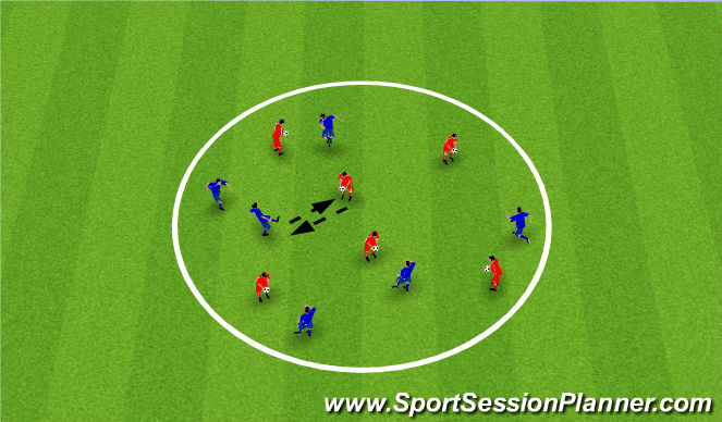 Football/Soccer Session Plan Drill (Colour): Ball mastery - Serve & pass