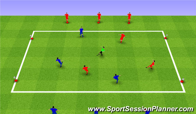 Football/Soccer Session Plan Drill (Colour): 4v3 overload - Combinations to score