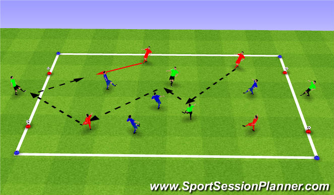 Football/Soccer Session Plan Drill (Colour): SSG- 6v4 overloads