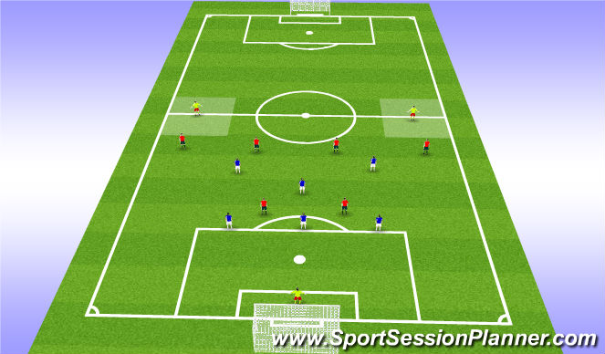 Football/Soccer Session Plan Drill (Colour): 9v9 - Continous Defending