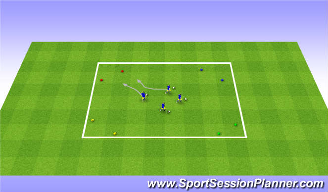 Football/Soccer Session Plan Drill (Colour): 4 Corners Warm up