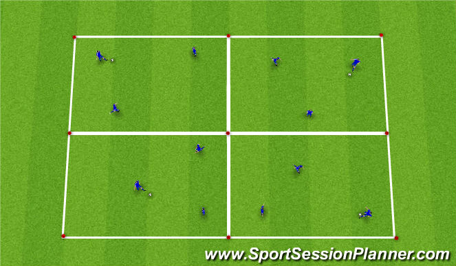 Football/Soccer Session Plan Drill (Colour): 4-Square