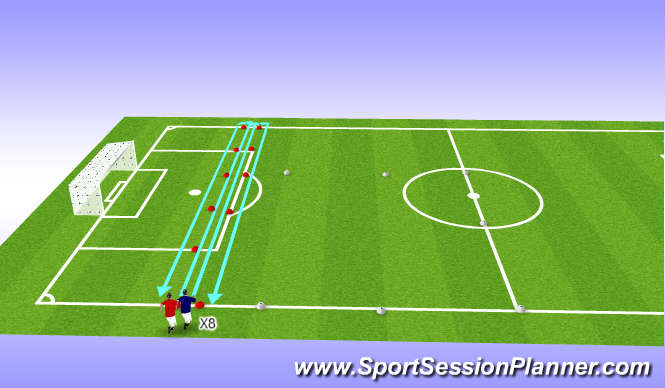 Football/Soccer Session Plan Drill (Colour): Warm Up 1st phase