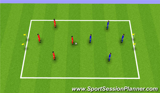Football/Soccer Session Plan Drill (Colour): 4v4 Small Sided