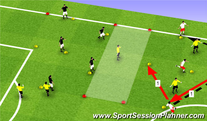 Football/Soccer Session Plan Drill (Colour): 15 player 5v2