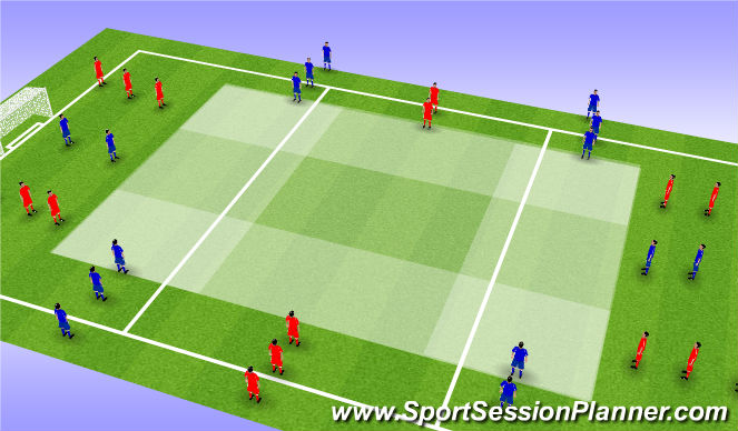 Football/Soccer Session Plan Drill (Colour): Cross section dribbling