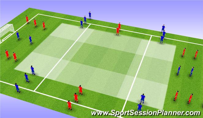 Football/Soccer Session Plan Drill (Colour): Cross section dribbling