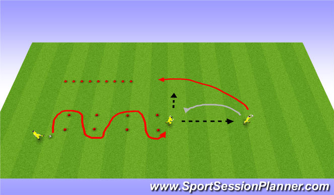 Football/Soccer Session Plan Drill (Colour): 10 cone