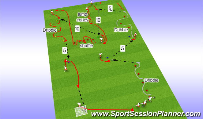 Football/Soccer Session Plan Drill (Colour): Passing and Agility