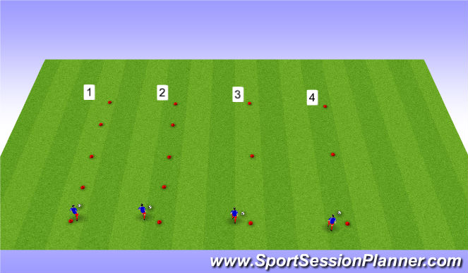 Football/Soccer Session Plan Drill (Colour): ball control - dribble