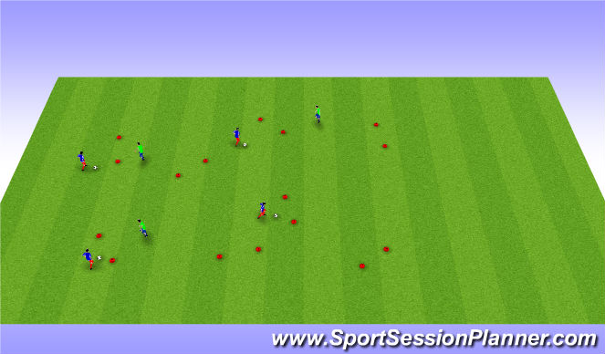 Football/Soccer Session Plan Drill (Colour): dribble and control