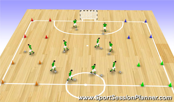 Futsal Session Plan Drill (Colour): Warming Up