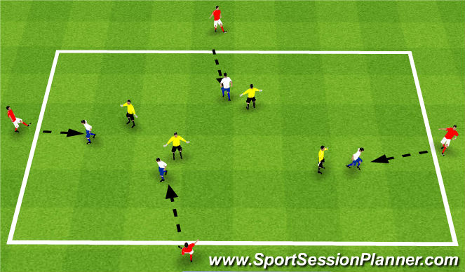 Football/Soccer Session Plan Drill (Colour): SSG 1v1 turning and shileding