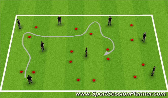 Football/Soccer Session Plan Drill (Colour): WU: Running gates