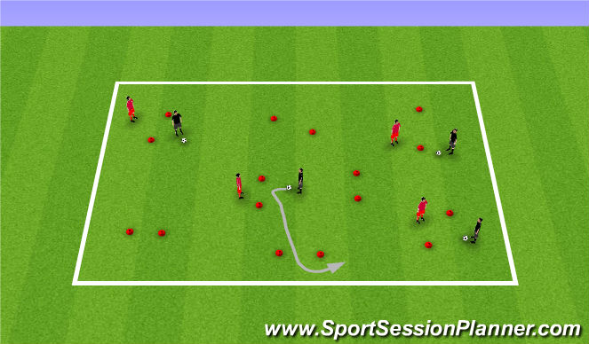 Football/Soccer Session Plan Drill (Colour): CG: 'Cat versus Mouse'