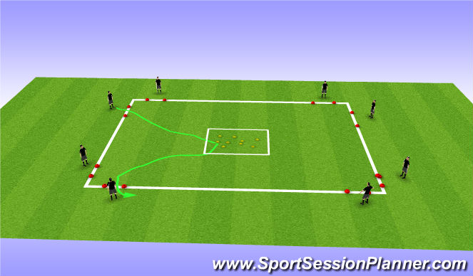 Football/Soccer Session Plan Drill (Colour): WU: Treasure hunt