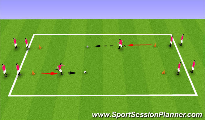 Football/Soccer Session Plan Drill (Colour): Running lines