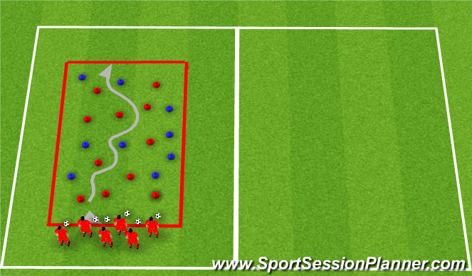 Football/Soccer Session Plan Drill (Colour): Minefield