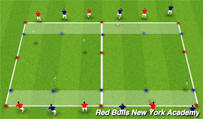 Football/Soccer Session Plan Drill (Colour): Main Theme - Technical Repitions Unopposed