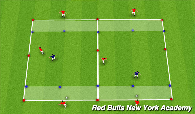 Football/Soccer Session Plan Drill (Colour): Main Theme - Technical Repitions Semi Opposed