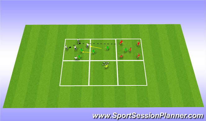 Football/Soccer Session Plan Drill (Colour): 3 team keep ball