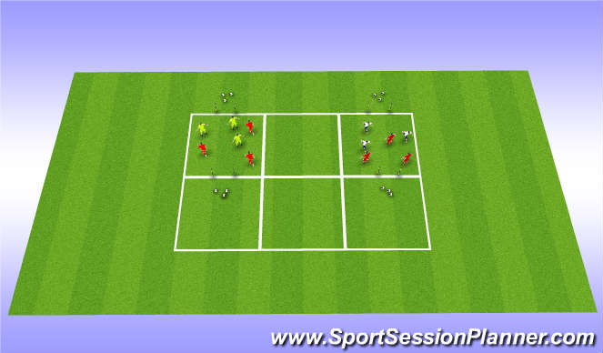Football/Soccer Session Plan Drill (Colour): 3 v 3's