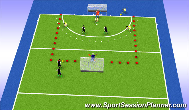 Hockey Session Plan Drill (Colour): Press oefening